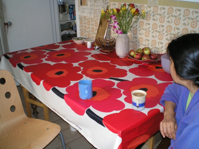 Meher and new tablecloth